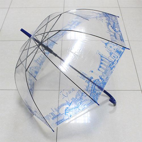 UT1 Зонт-трость прозр.купольный Крым синий (дуга 60см, диам 90см)