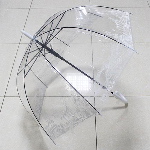 UT3 Зонт-трость прозр.купольный Крым белый (дуга 60см, диам 90см)