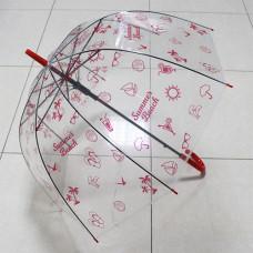 UT4 Зонт-трость прозр.купольный Летний розов (дуга 60см, диам 90см)