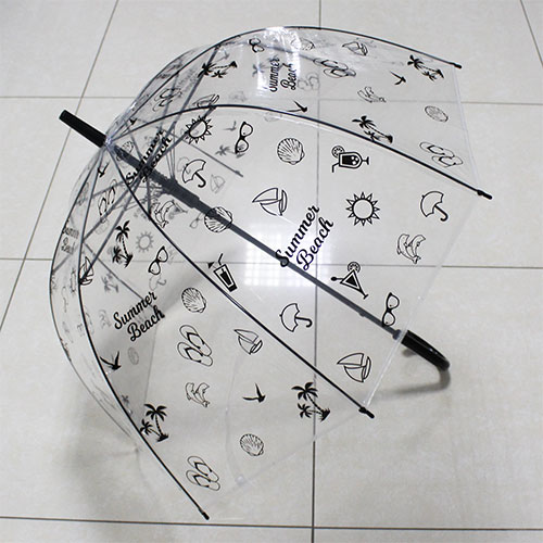UT5 Зонт-трость прозр.купольный Летний черн (дуга 60см, диам 90см)